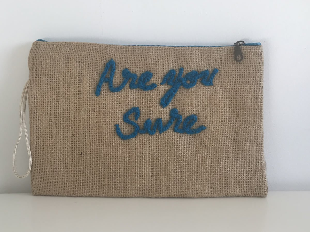 Pochette à message Are you Sure turquoise GM