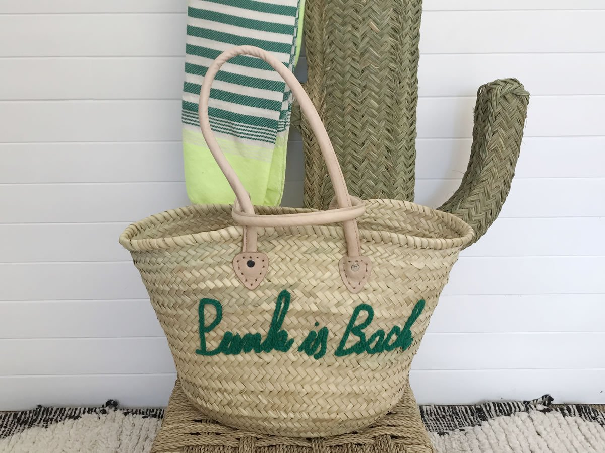 "Panier en osier ""Punk is Back"" Vert"