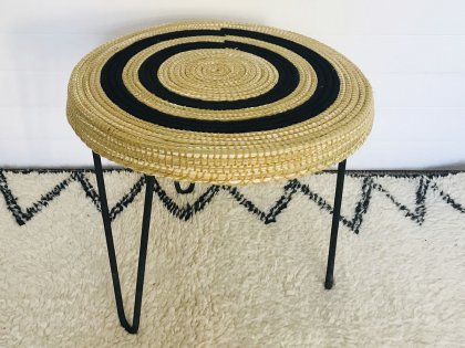 Table basse en raphia MM noir