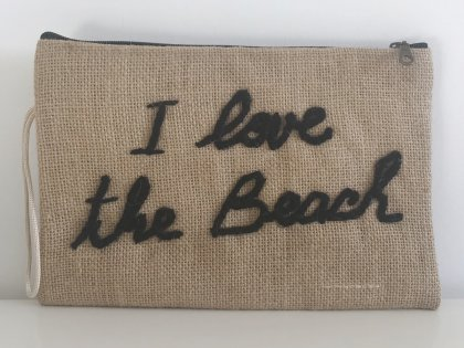Pochette à message I love the beach noir GM