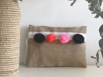 Pochette à pompons noir orange et rose GM