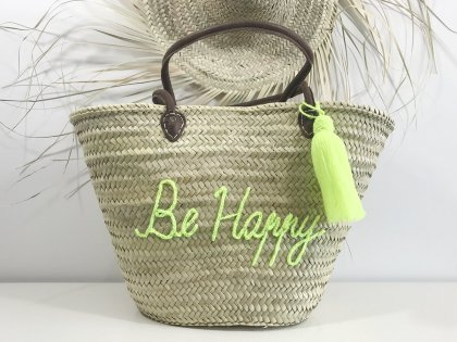"Panier en osier ""Be Happy"" Jaune fluo"