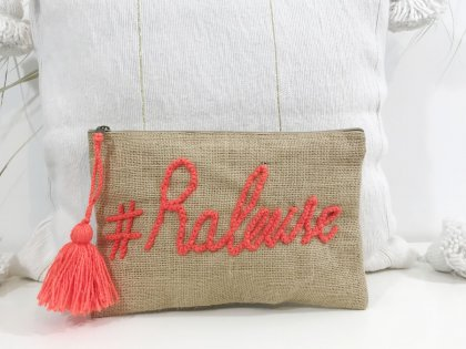 Pochette à message #Raleuse orange fluo GM