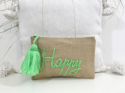 Pochette à message Happy vert fluo GM
